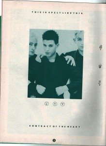 Spelt Like This - marketing advert for new record release 'Contract of the Heart' 1985